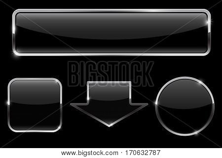 Buttons set. Black icons on black background. Vector illustration