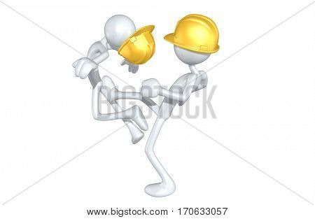 The Original 3D Character Illustration Construction Worker Kicking Another