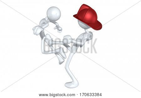 The Original 3D Character Illustration Fireman Kicking Another