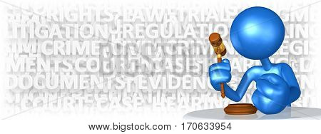 The Original 3D Character Illustration With A Legal Gavel