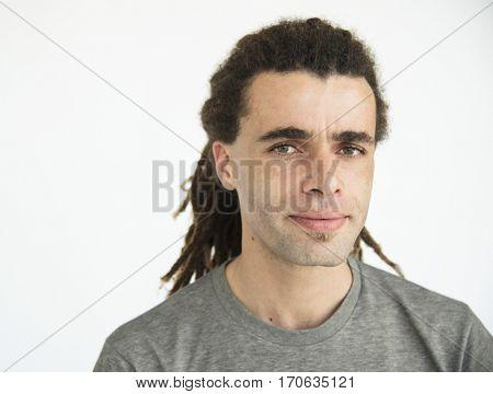 Adult caucasian man dreadlocks hairstyle