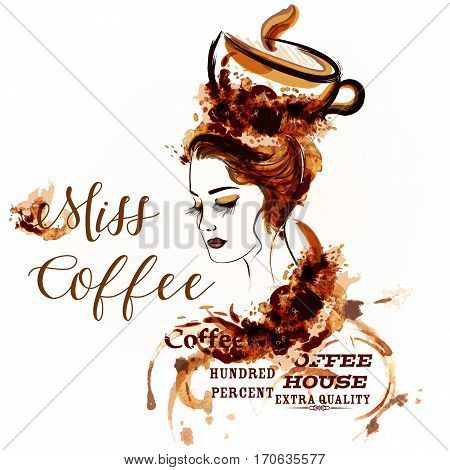 Fashion creative vector background with girl portrait drawn by coffee spots. Coffee house design label