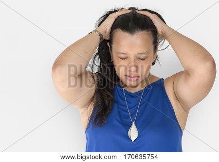 Stress woman migraine pressure panic