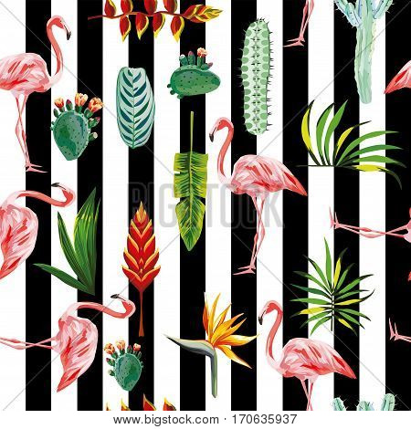 systematic ordered tropical green leaves flowers cactus and pink flamingo on black white striped background. Seamless vector wallpaper pattern