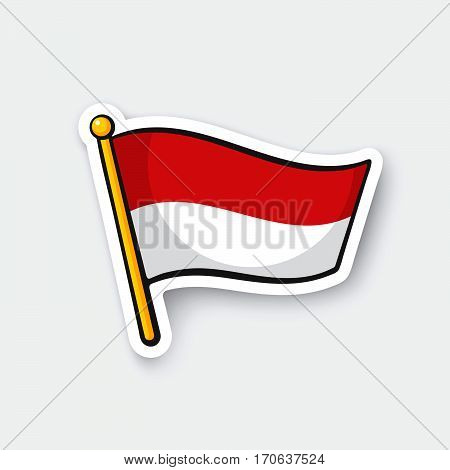 Vector illustration. Flag of Indonesia on flagstaff. Location symbol for travelers. Cartoon sticker with contour. Decoration for greeting cards posters patches prints for clothes emblems