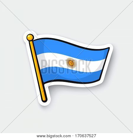 Vector illustration. Flag of Argentina on flagstaff. Location symbol for travelers. Cartoon sticker with contour. Decoration for greeting cards posters patches prints for clothes emblems