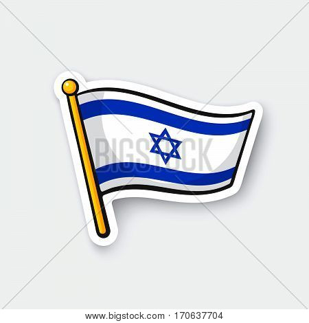 Vector illustration. Flag of Israel on flagstaff. Location symbol for travelers. Cartoon sticker with contour. Decoration for greeting cards posters patches prints for clothes emblems