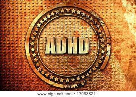 adhd, 3D rendering, text on metal