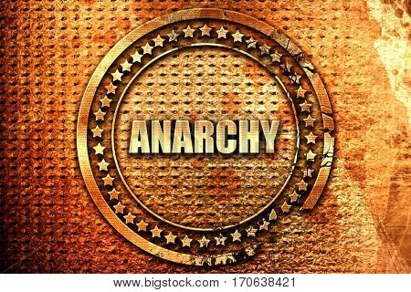 anarchy, 3D rendering, text on metal