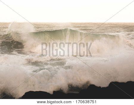 Ocean beach waves near Thor's Well in Cape Perpetua Oregon Coast USA.