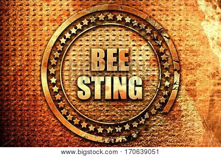 bee sting, 3D rendering, text on metal