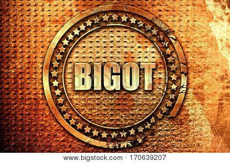 bigot, 3D rendering, text on metal