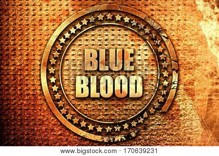 blue blood, 3D rendering, text on metal