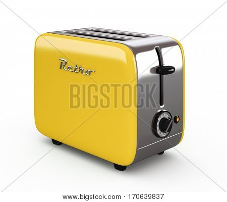 Vintage toaster isolated on white background 3D illustration
