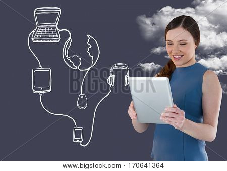 Smiling woman using digital tablet with digitally generated application icon against sky background