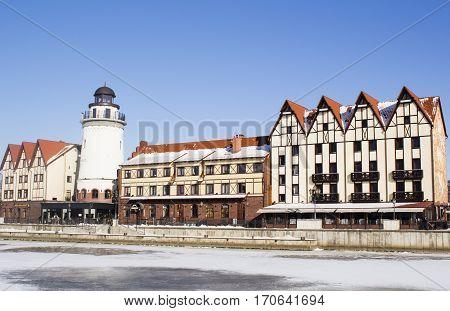 Russia. Kaliningrad. View of Fishing village building