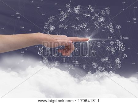 Close-up of hand touching digitally generated icon against sky background