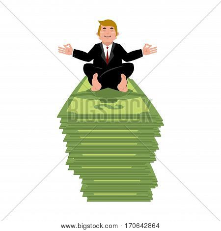 Business Yoga And Money. Businessman Meditating On Cash. Yogi Boss. Office Zen And Relaxation