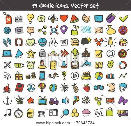 Vector doodle icons set. Stock cartoon signs for design.