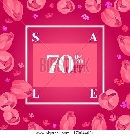Festive frame decorated with pink tulips. Limited offer 70 percent off. Special design for Mother's day, 8 March and Easter.