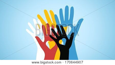 Conceptual image of multicolored volunteers hands with heart shaped