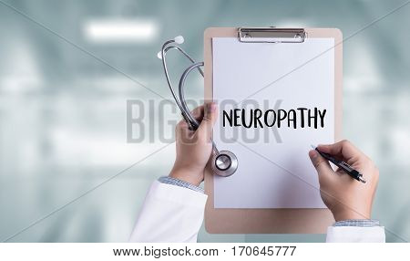 Neuropathy  Medical  Doctor Concept , Neuropathy Wording In Anamnesis.
