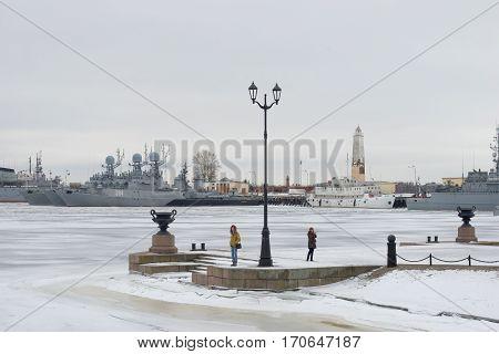 SAINT PETERSBURG, RUSSIA - JANUARY 25, 2017: Cloudy January day in Petrovskaya Harbor. Kronstadt