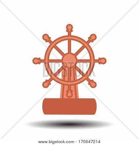 ship wheel on a white background. children s illustration. is used to print, website, smartphone, design, textiles, ceramics, fabrics, prints postcards packaging etc