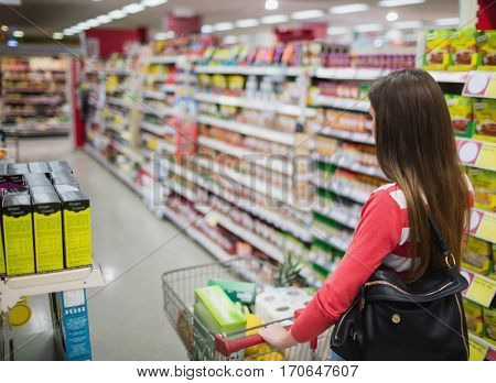 Rear view of woman shopping at the supermarket