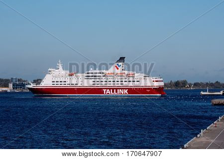 RIGA, LATVIA - OCTOBER 15, 2016: Cruise-ferry ship Isabelle of Tallink arriving in the port of Riga. The ship built in 1989 and has the capacity for 2480 passengers