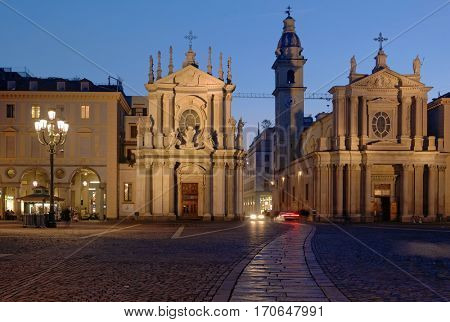 TURIN, ITALY - JANUARY 11, 2013: People on San Carlo square in Turin, Italy on January 11, 2013. The most beautiful square of Turin keeps the 17th century look