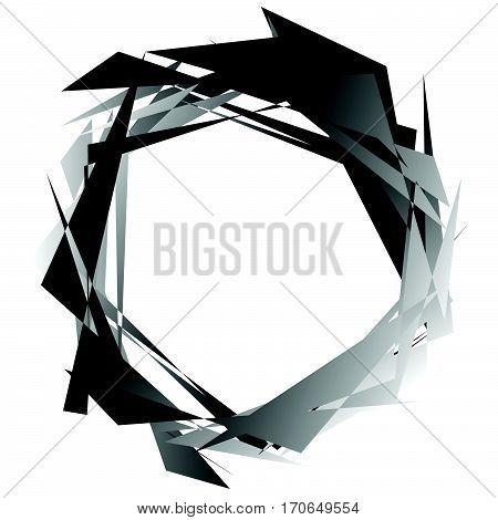 Edgy Monochrome Circular Element. Black And White Angular Motif, Shape