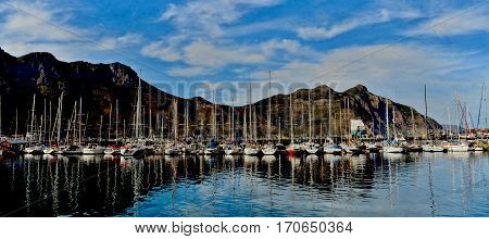 Landscape with Hout Bay Harbour and Beach
