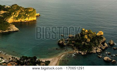 Italy: Aerial View Of Island And Isola Bella At Sunrise