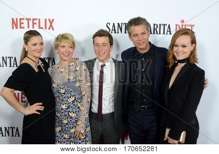 LOS ANGELES - FEB 1: Drew Barrymore, Mary Elizabeth Ellis, Skyler Gisondo, Timothy Olyphant, Liv Hewson at the