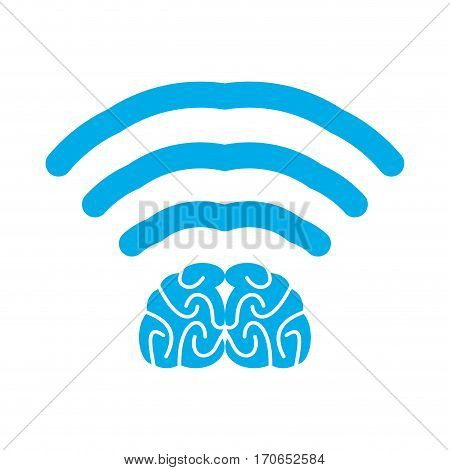 Wi-fi Brain. Wifi Mind. Wireless Connection Wiseacre. Passing Thoughts. Thinking At Distance