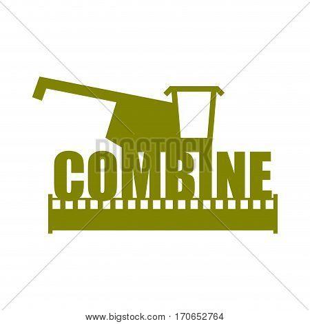 Combine Harvester Logo. Sign Farm. Machine For Harvesting Grain Crops