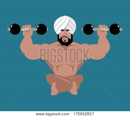 Indian Sportsman. Fitness Athlete From India. Yoga With Dumbbells. Bodybuilder In Turban