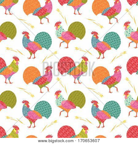 Seamless pattern with creative stylized roosters in patchwork style and oats ears. Vector illustration