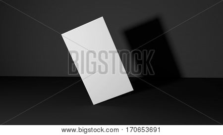 White Business card on dark background. High resolution 3d render. Personal branding mockup template. Soft shadow.