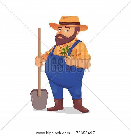 Vector illustration of a farmer with a shovel and seedlings