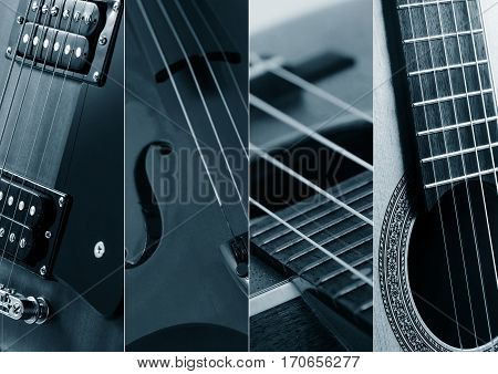 Music Collage. Collage of photos of tinted blue guitar and amp