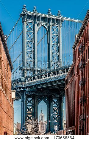Famous view at Manhattan Bridge in New York City