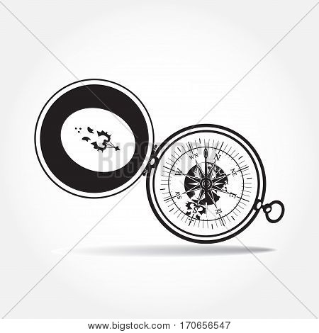 Vector illustration of magnetic portable compass in flat style. Black and white isolated icon.