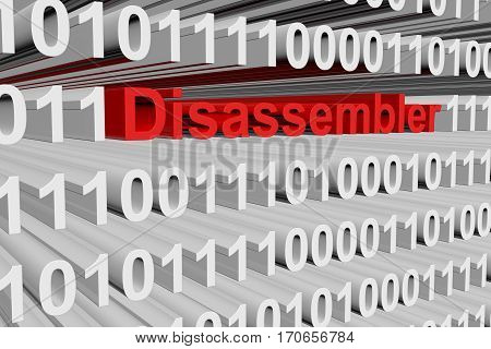 disassembler as a binary code 3D illustration