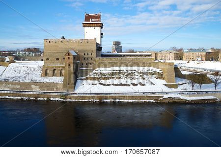 Herman's Castle closeup, sunny March day. Narva, Estonia