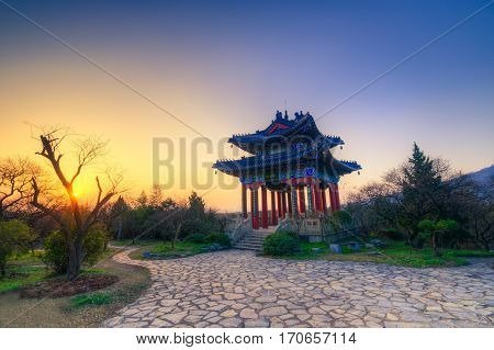 Sunset at The Boai Pavilion on The Top of A Hill in The Imperial Tomb in Ming Dynasty in Chinese History