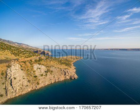 Aerial: Beautiful Sea Landscape Of Dalmatia, Croatia At Sunset