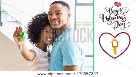 Composite image of smiling couple showing new home key