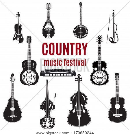 Vector set of country music instruments. Black and white flat style design elements isolated on white background.
